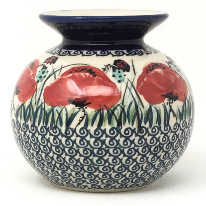 Round Vase in Polish Poppy