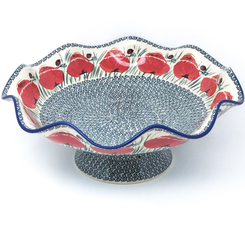 Fluted Pedestal Bowl in Polish Poppy