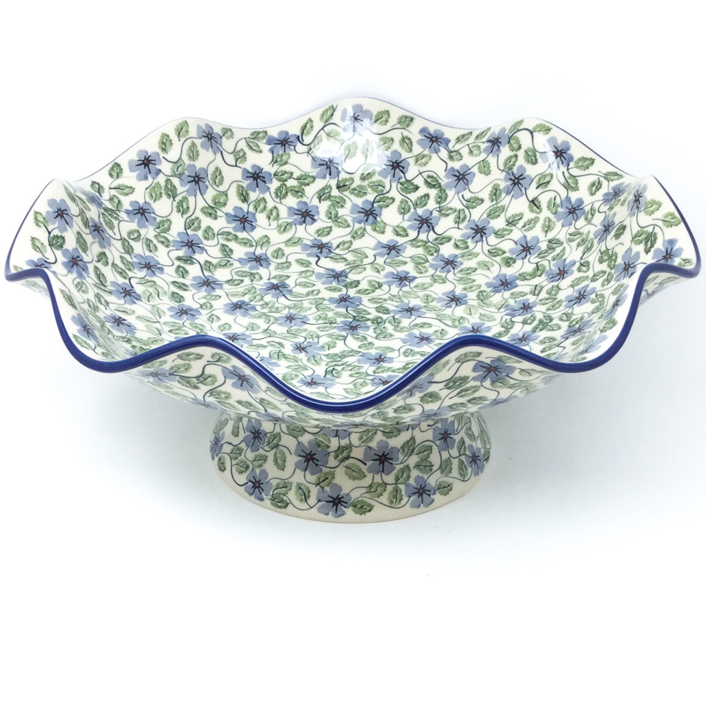 Fluted Pedestal Bowl in Blue Clematis