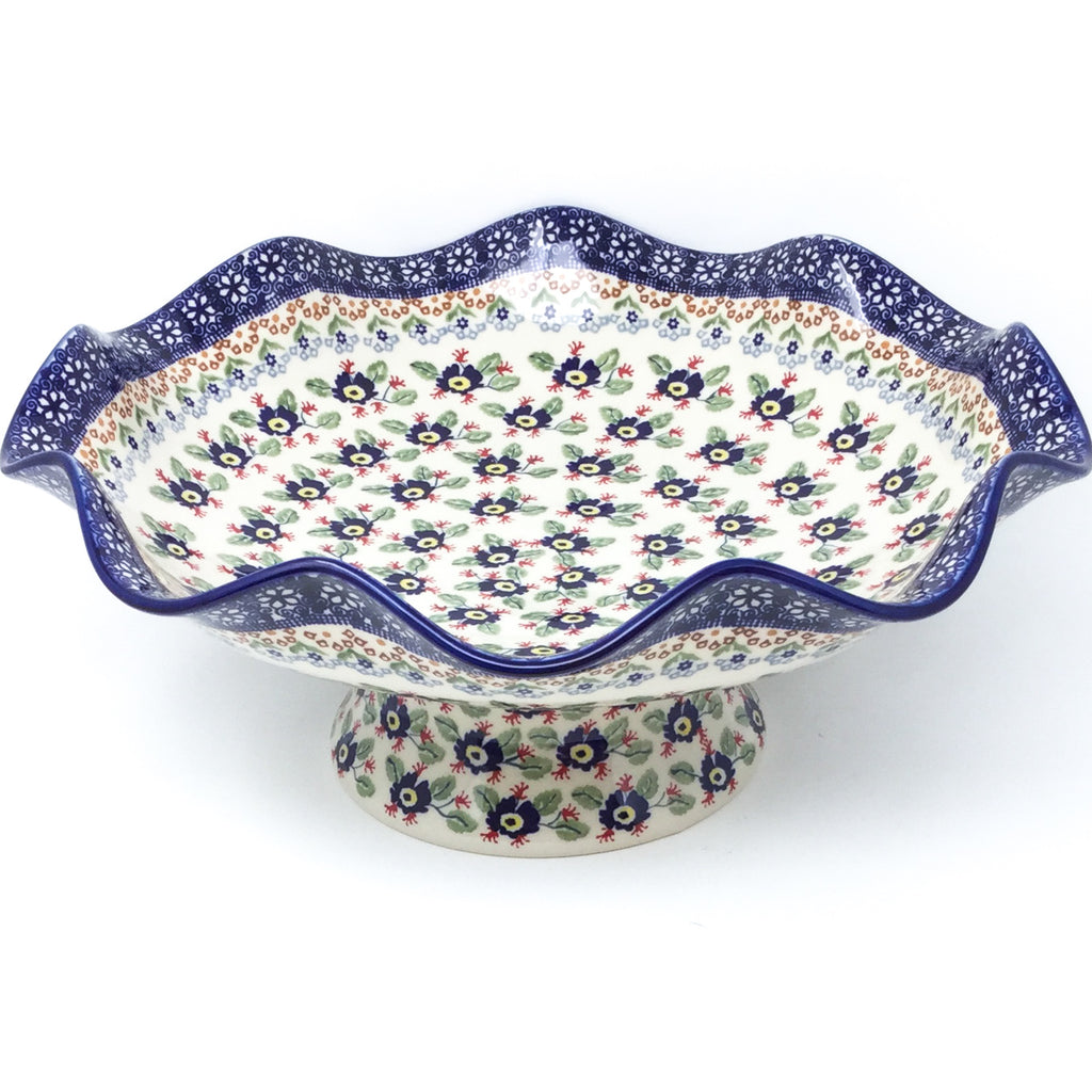 Fluted Pedestal Bowl in Forget-Me-Not
