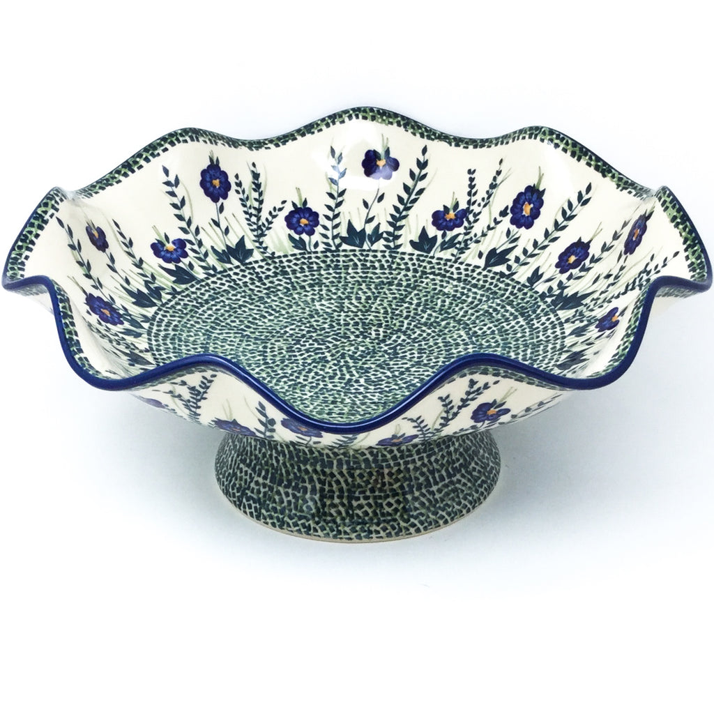Fluted Pedestal Bowl in Wild Blue