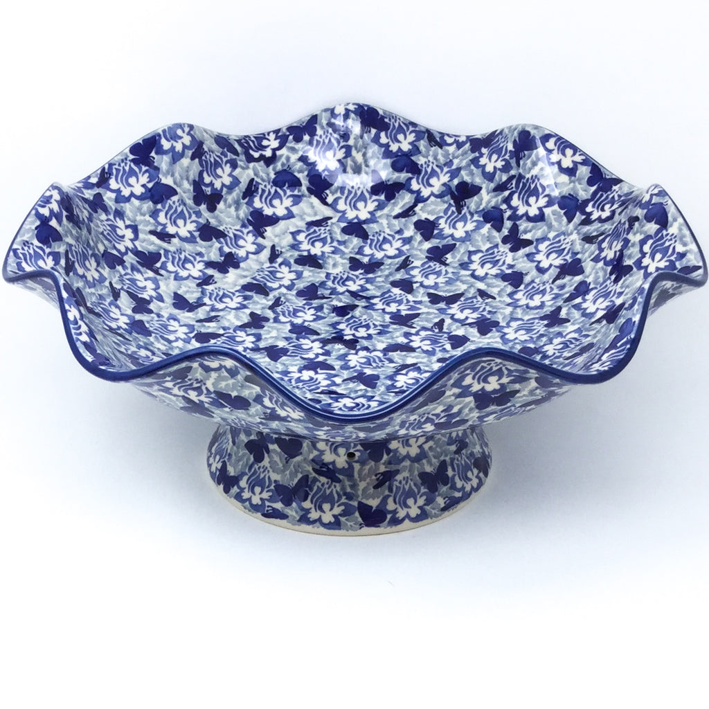 Fluted Pedestal Bowl in Blue Butterfly
