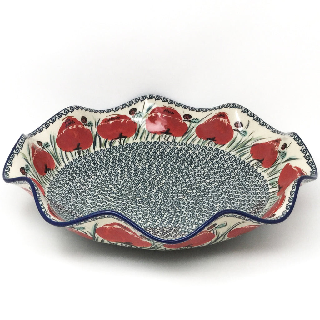 Fluted Pasta Bowl in Polish Poppy