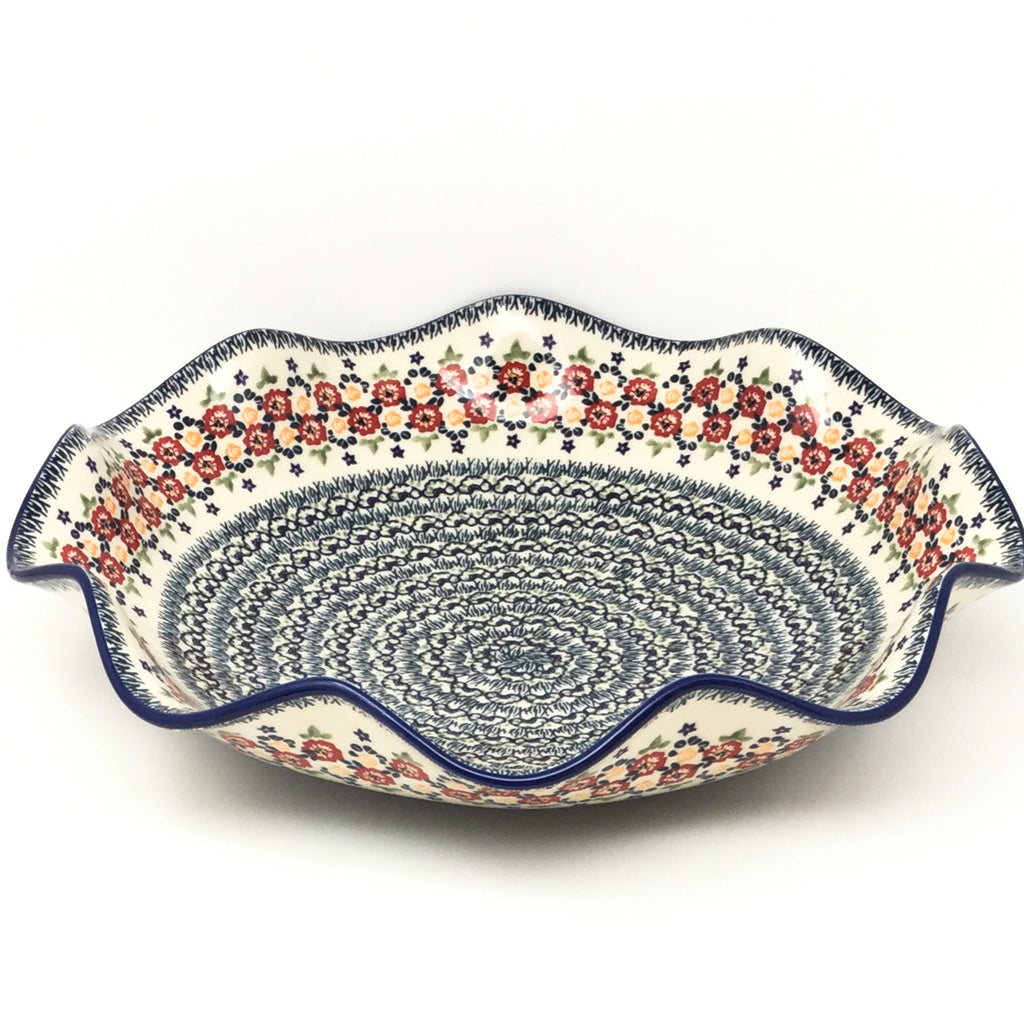 Fluted Pasta Bowl in Wild Roses