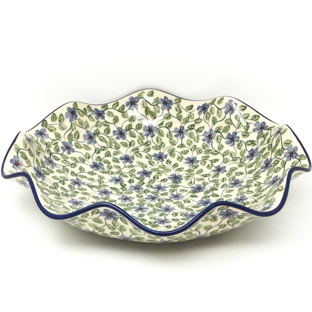 Fluted Pasta Bowl in Blue Clematis