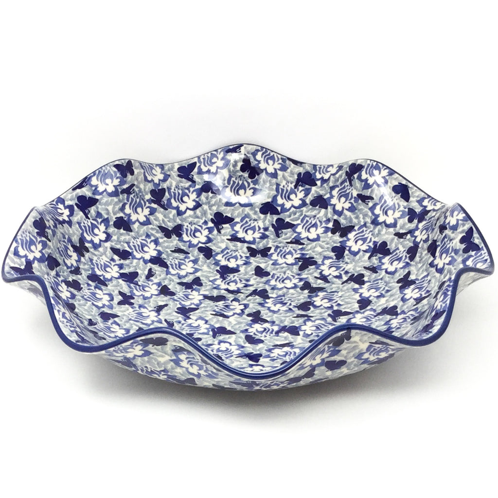 Fluted Pasta Bowl in Blue Butterfly