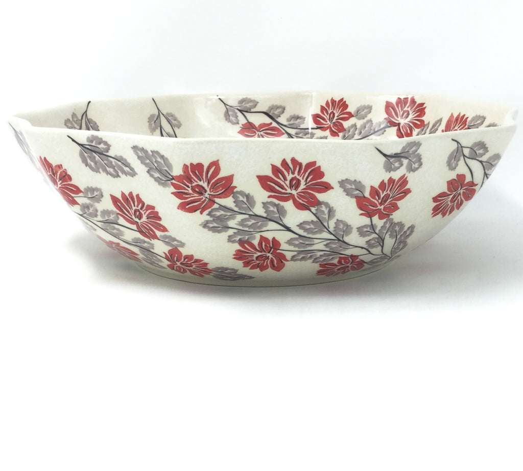 Lg New Kitchen Bowl in Red & Gray