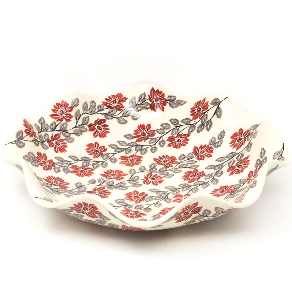 Fluted Pasta Bowl in Red & Gray