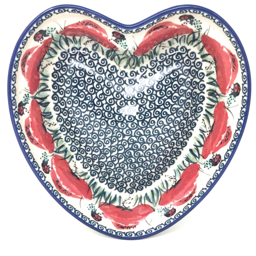 Lg Hanging Heart Dish In Polish Poppy