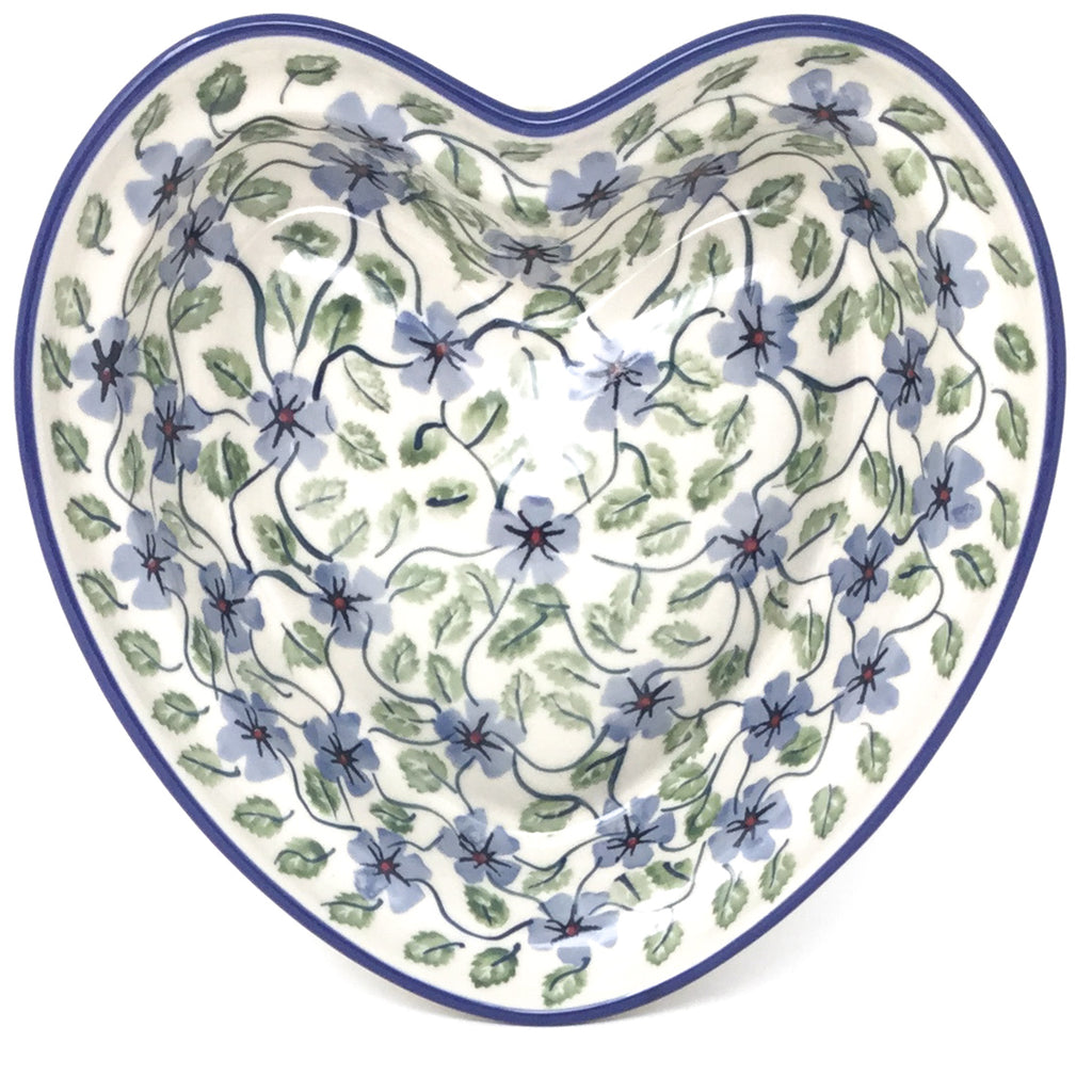 Lg Hanging Heart Dish in Blue Clematis