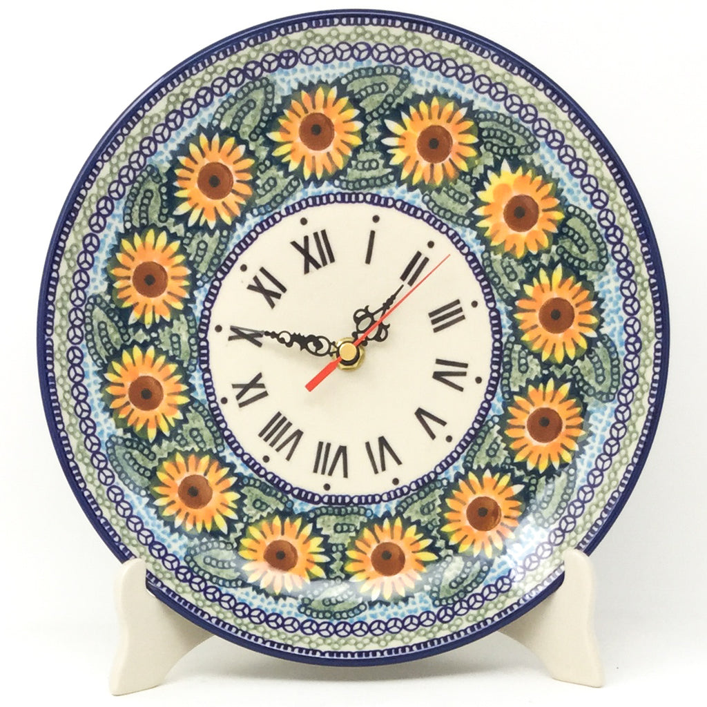 Plate Wall Clock in Sunflowers