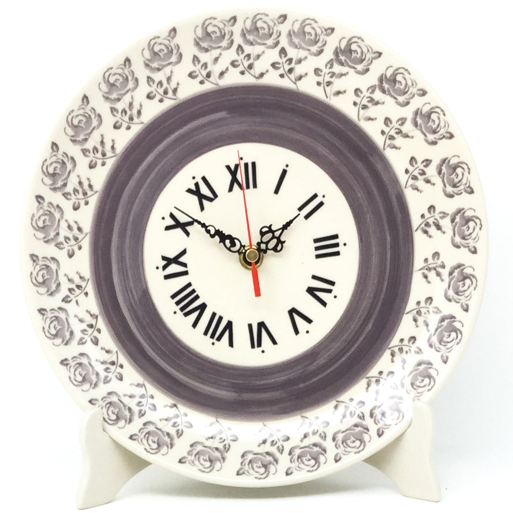 Plate Wall Clock in Gray Rose