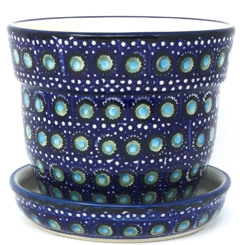 Sm Flower Pot w/Plate in Blue Moon
