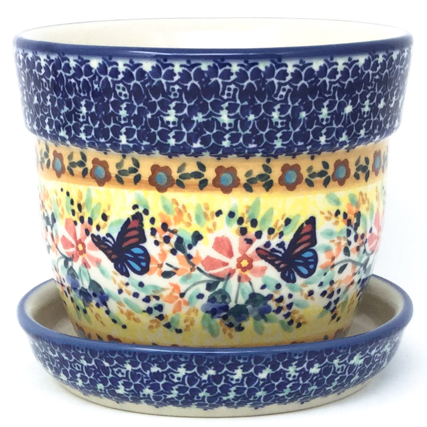 Sm Flower Pot w/Plate in Butterfly Meadow