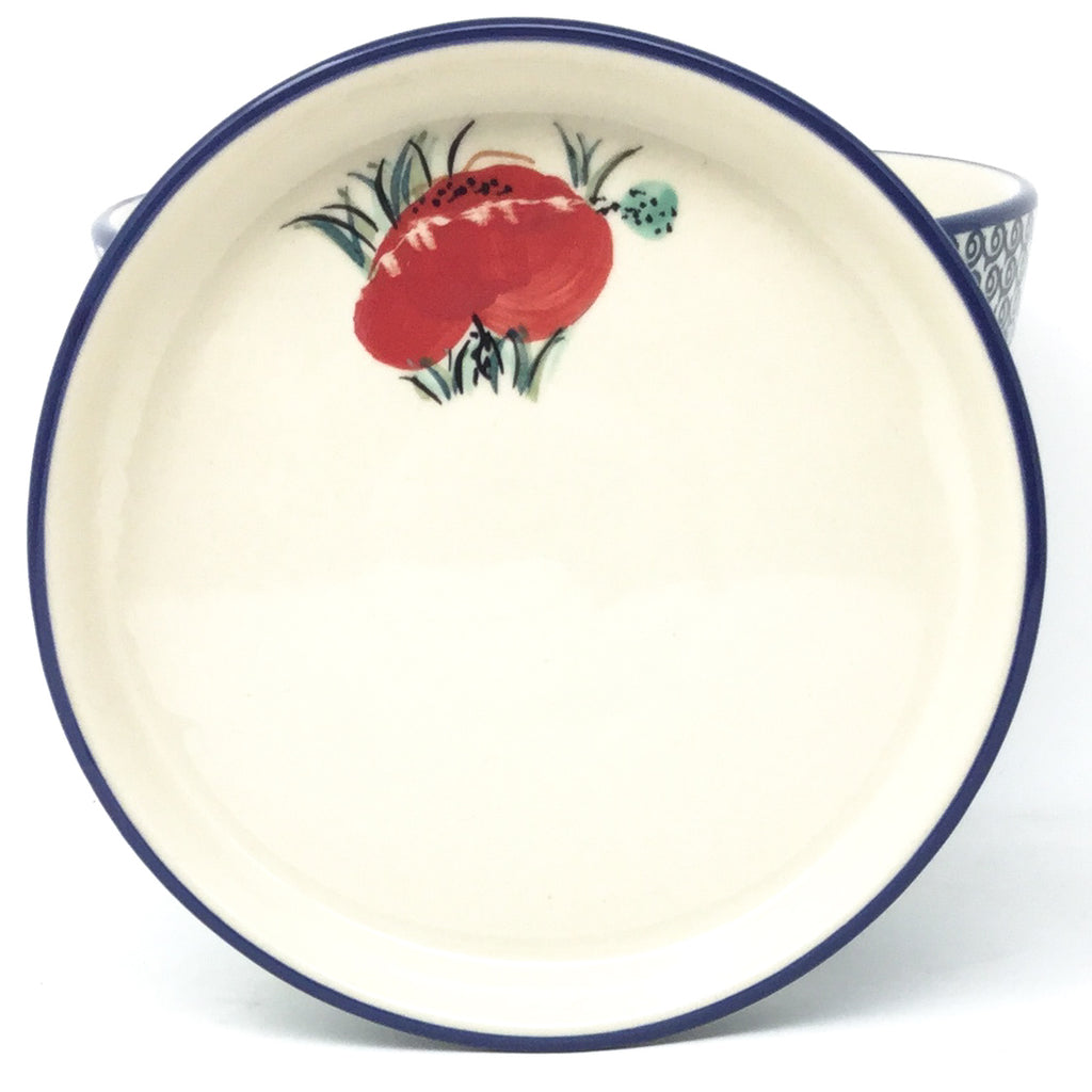 Lg Flower Pot w/Plate in Polish Poppy