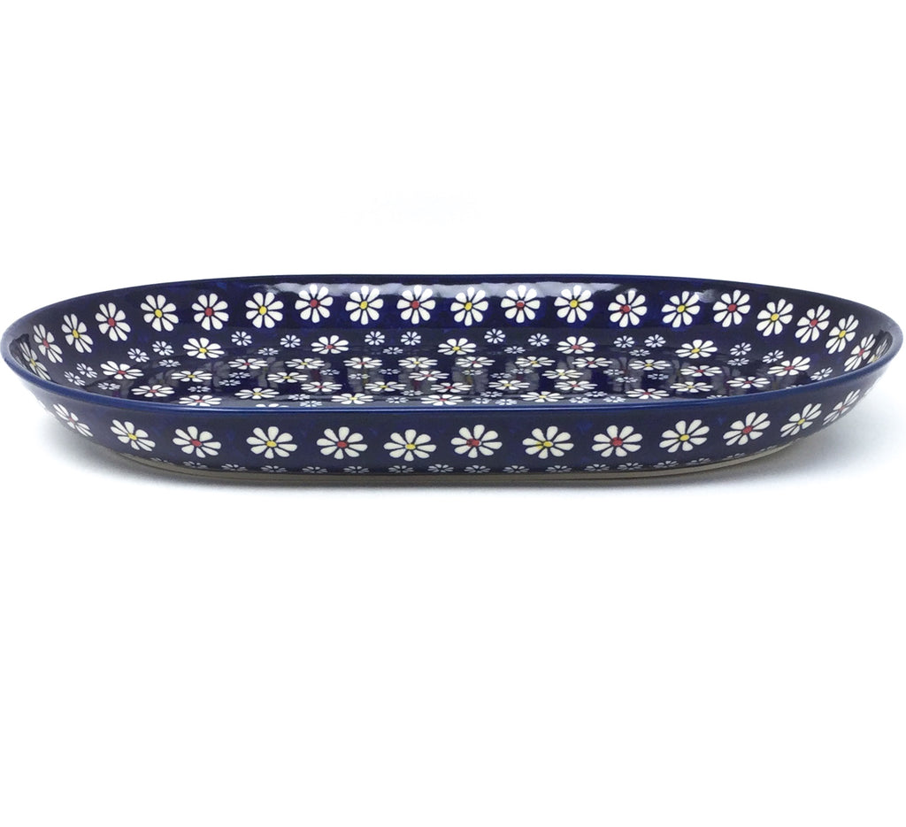 Lg Oval Platter in Flowers on Blue