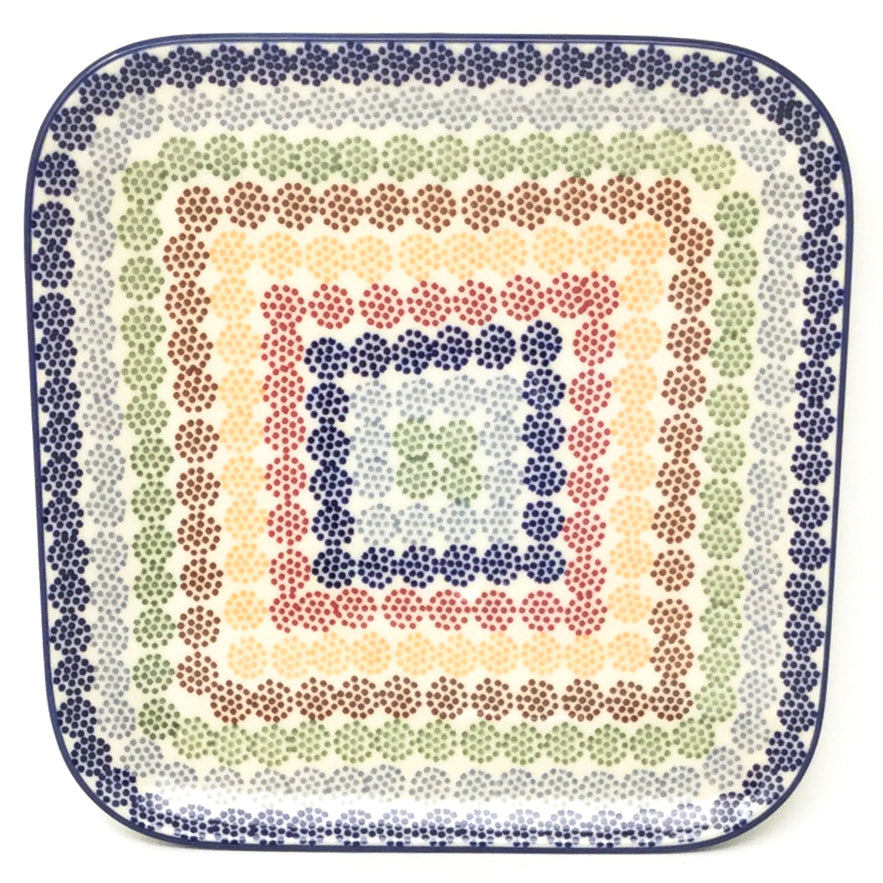 "Square Sushi Plate 8.5"" in Modern Dots"