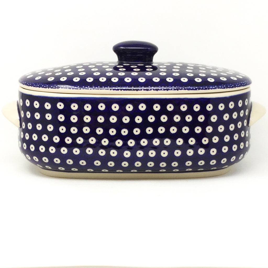 Covered Oval Baker 4 qt in Traditional Blue