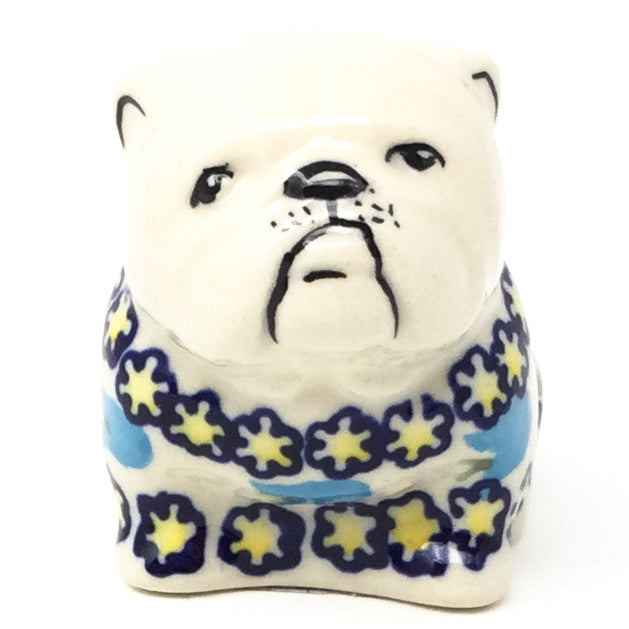 Bulldog-Miniature in Blue Tulips