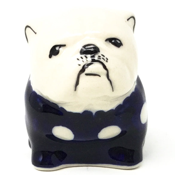 Bulldog-Miniature in White Polka-Dot
