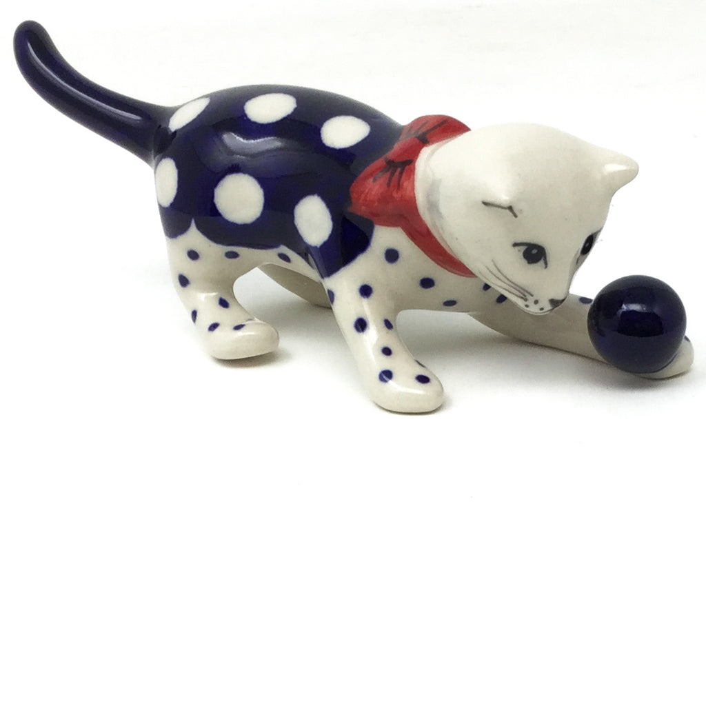 Cat Playing-Miniature in White Polka-Dot