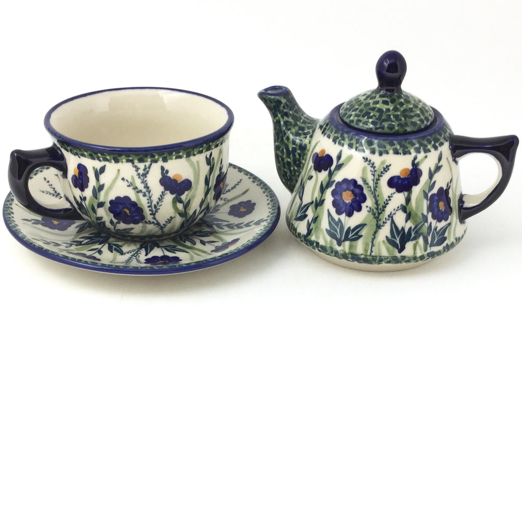 Teapot w/Cup & Saucer in Wild Blue