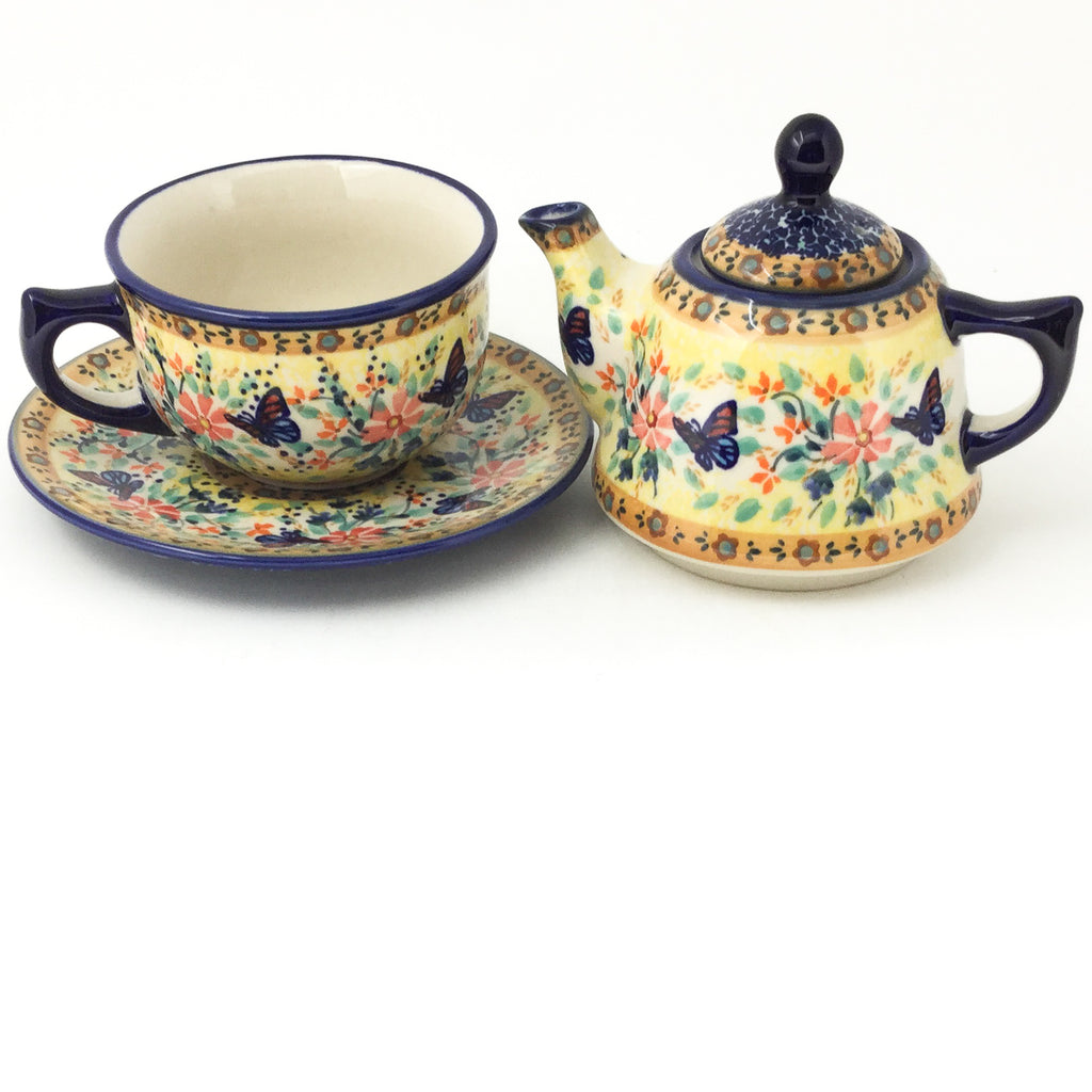 Teapot w/Cup & Saucer in Butterfly Meadow