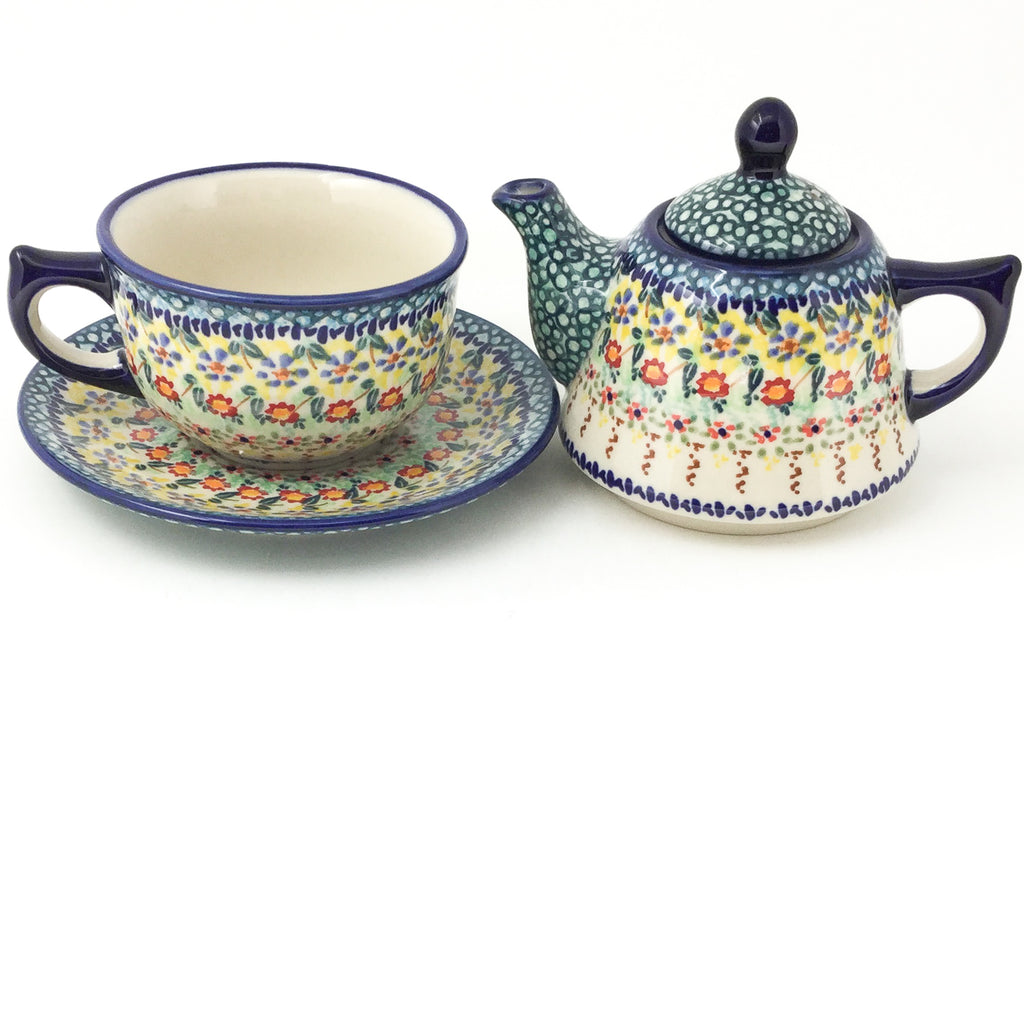 Teapot w/Cup & Saucer in Country Fall
