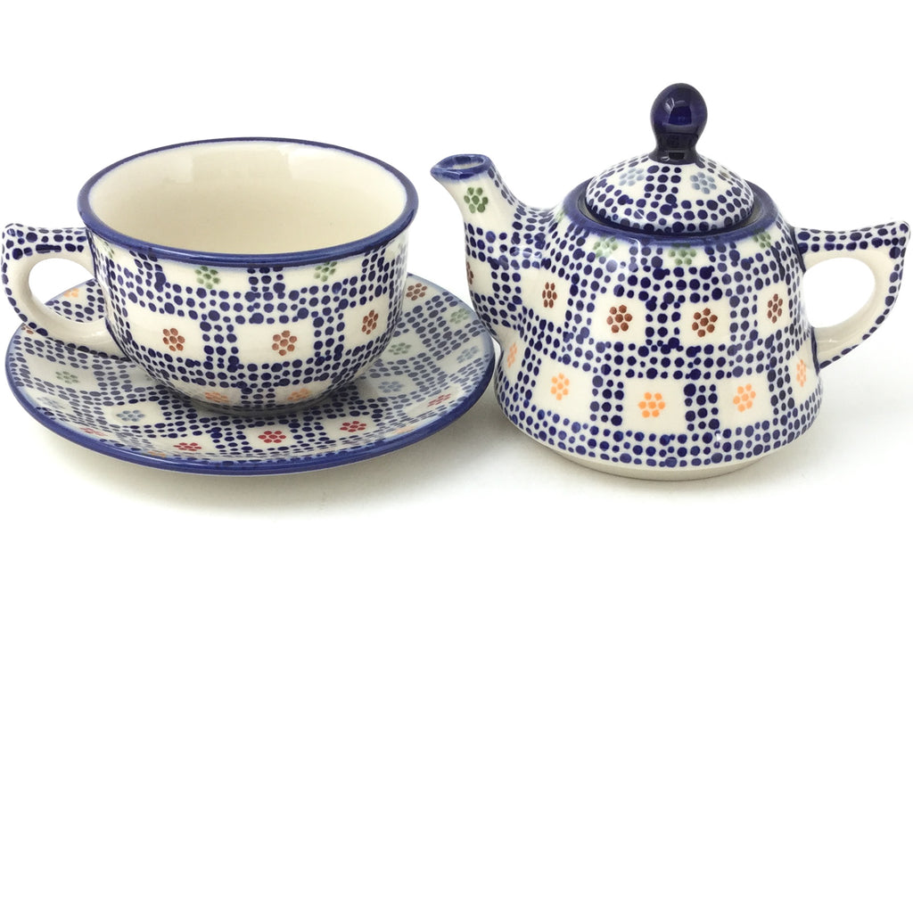 Teapot w/Cup & Saucer in Modern Checkers