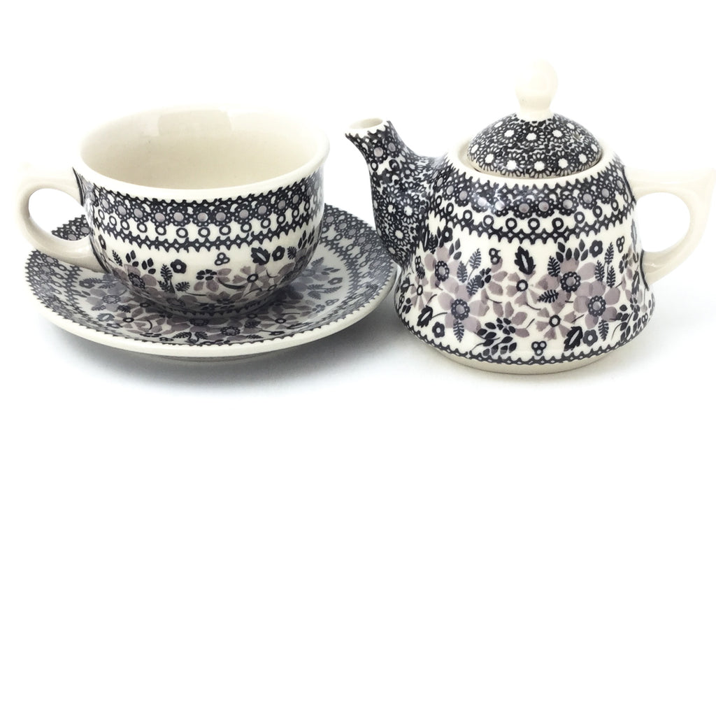 Teapot w/Cup & Saucer in Gray & Black