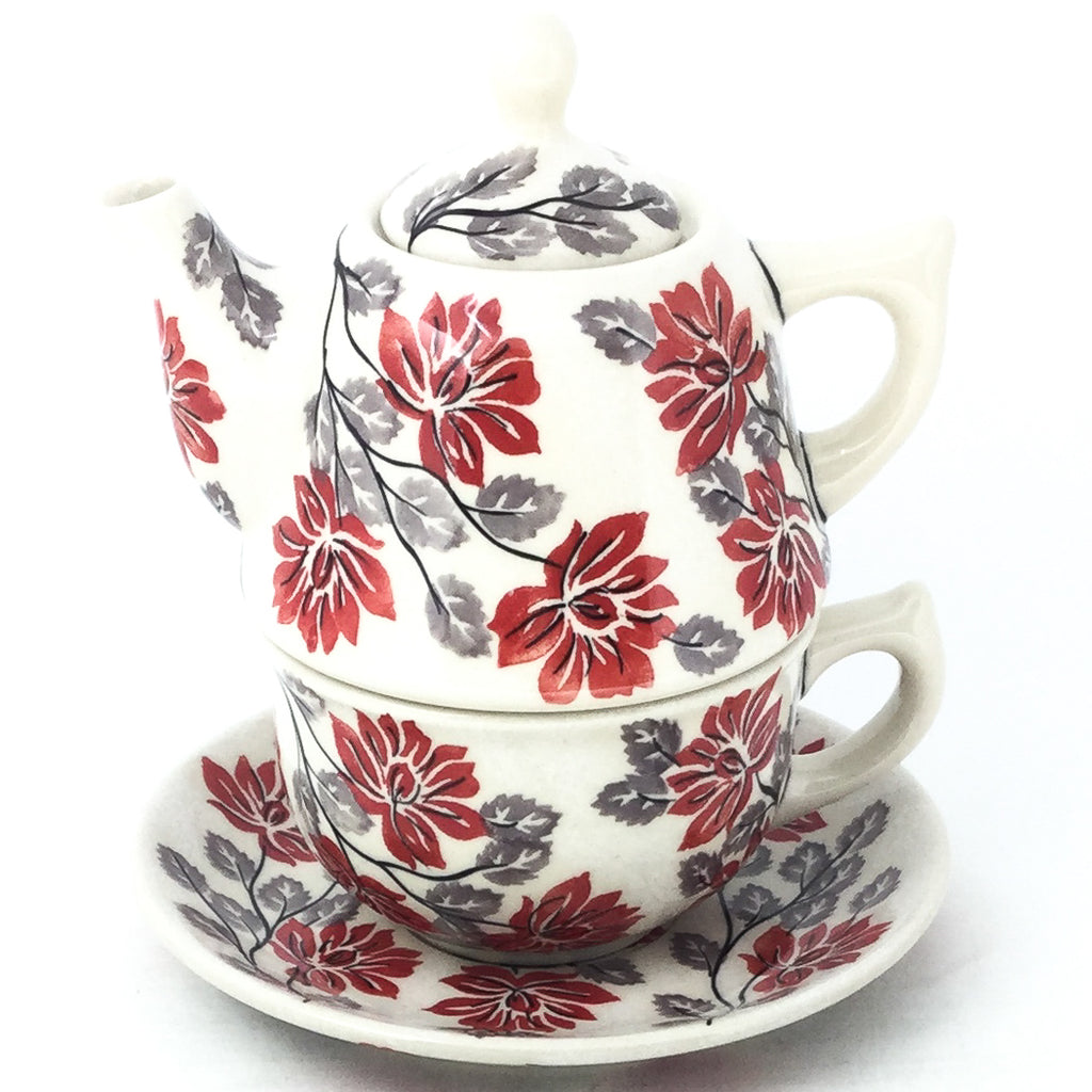 Teapot w/Cup & Saucer in Red & Gray