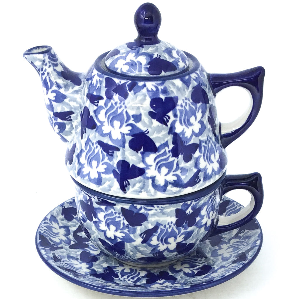 Teapot w/Cup & Saucer in Blue Butterfly