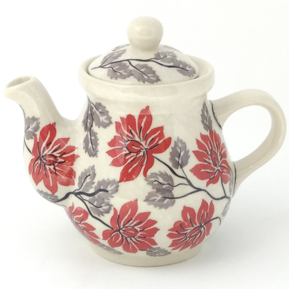 Night Time Teapot 12 oz in Red & Gray
