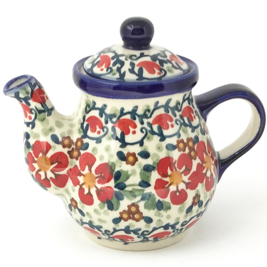 Night Time Teapot 12 oz in Red Poppies