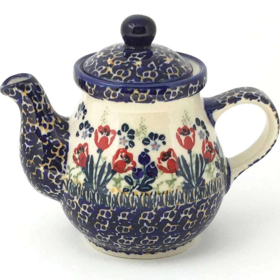 Night Time Teapot 12 oz in Red Tulips