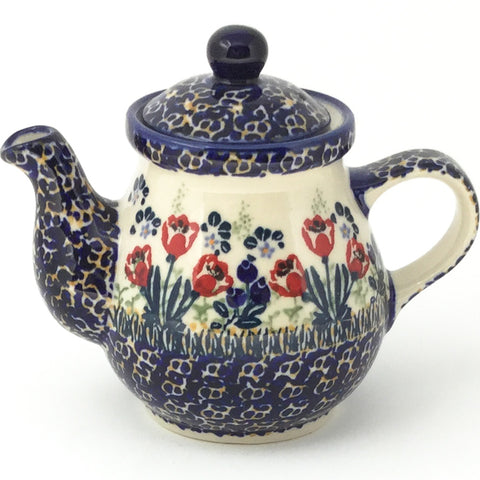 Night Time Teapot 10 oz in Red Tulips