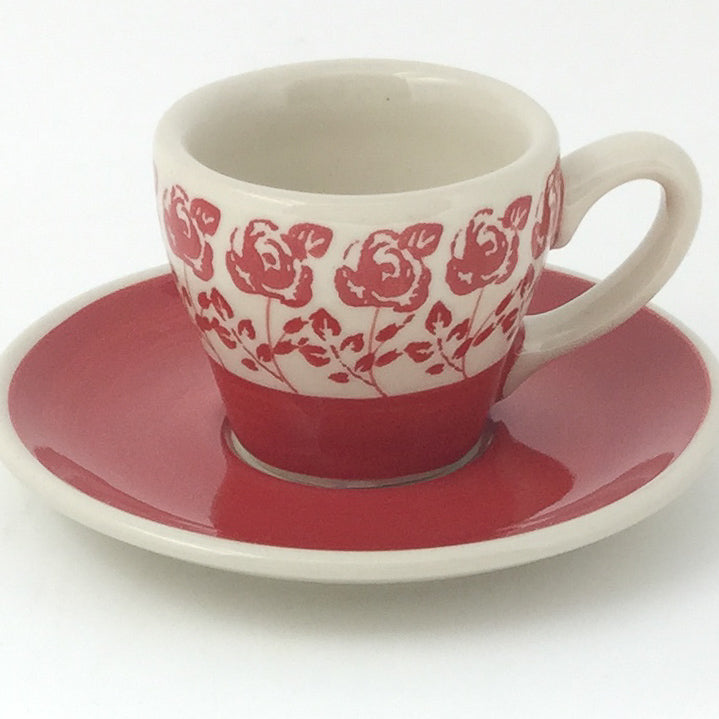 Espresso Cup w/Saucer 2 oz in Red Rose