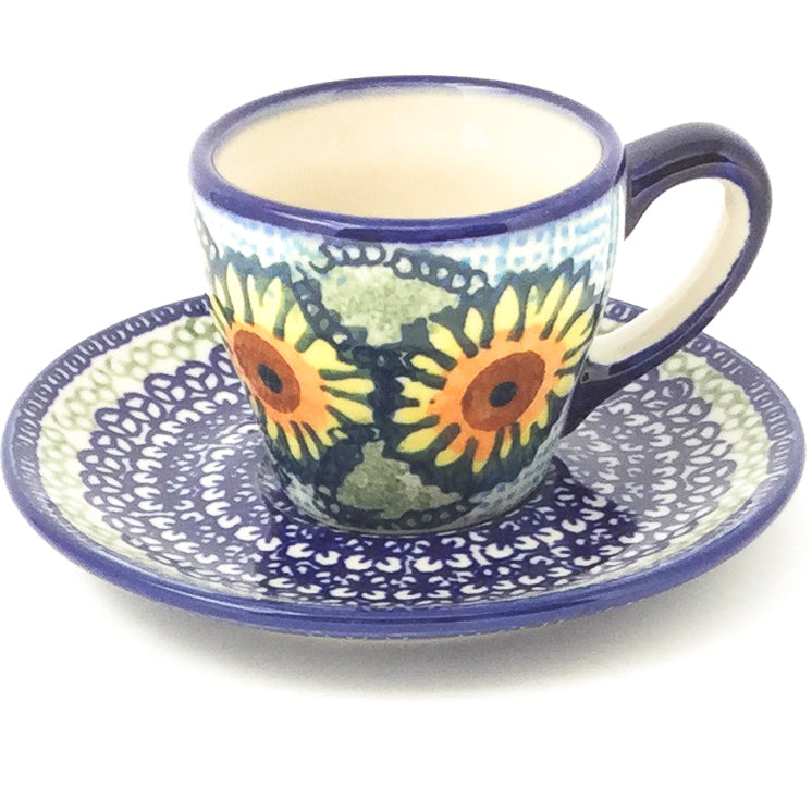 Espresso Cup w/Saucer 2 oz in Sunflowers