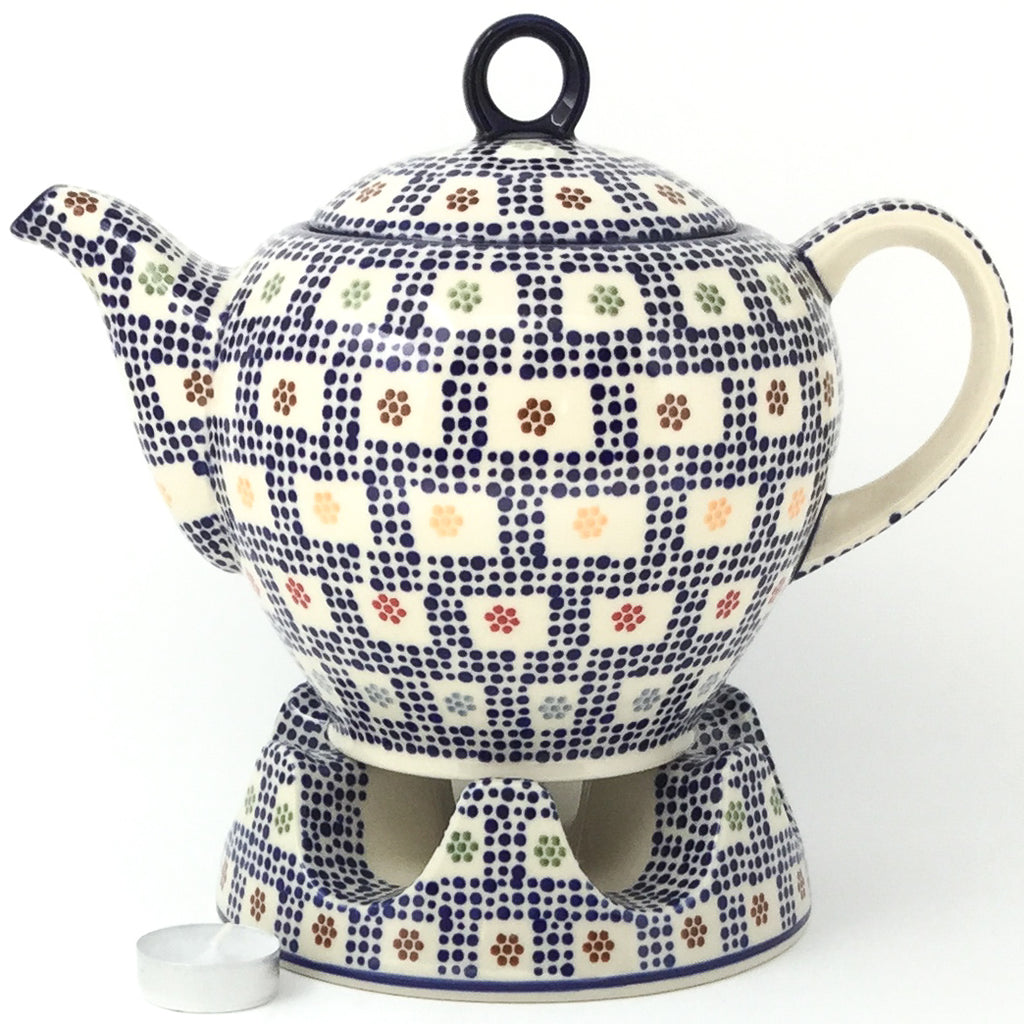 Victorian Teapot 1.75 qt in Modern Checkers