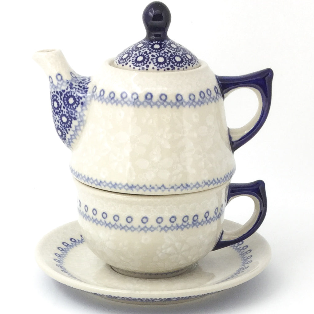 Teapot w/Cup & Saucer in Delicate Blue