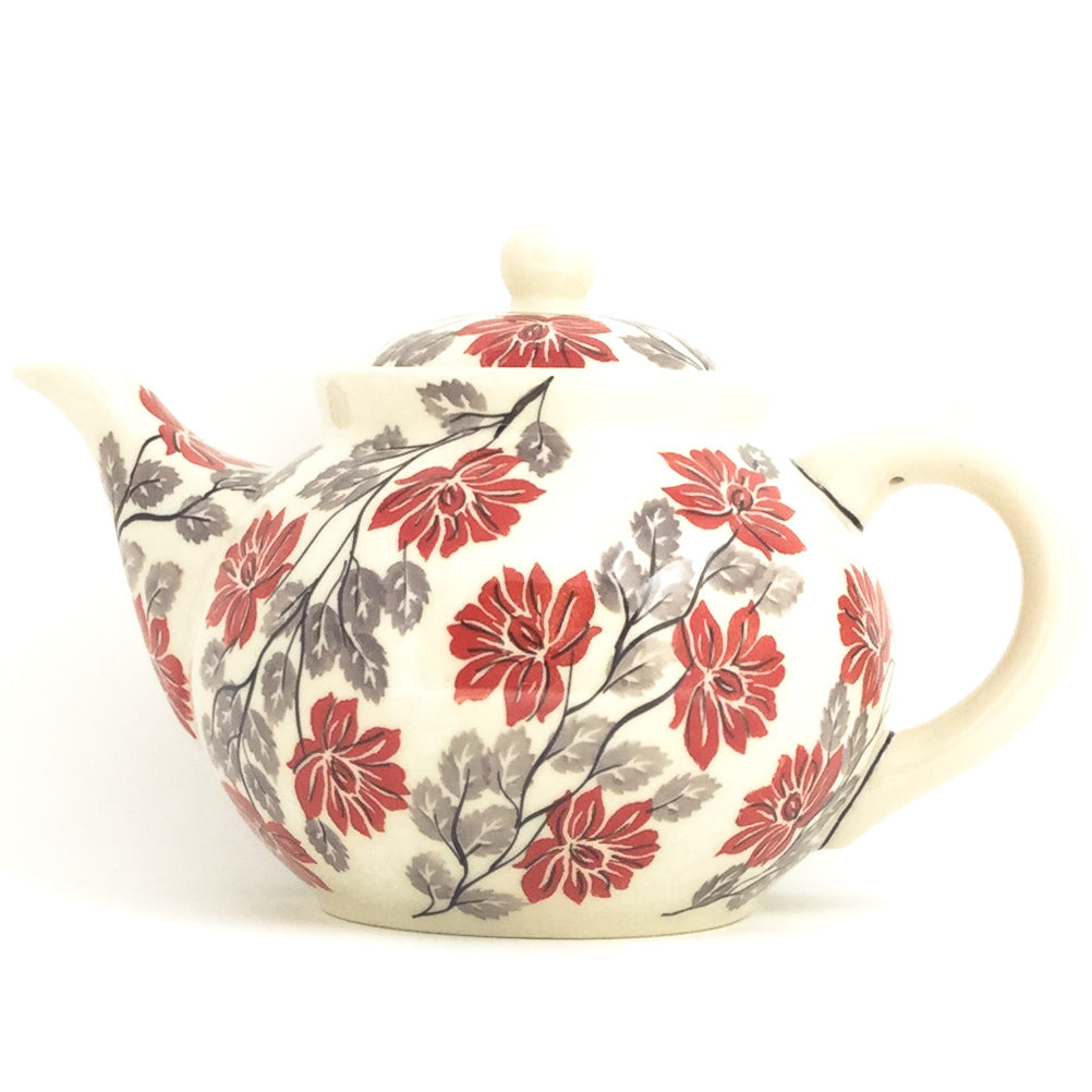 Afternoon Teapot 1.5 qt in Red & Gray