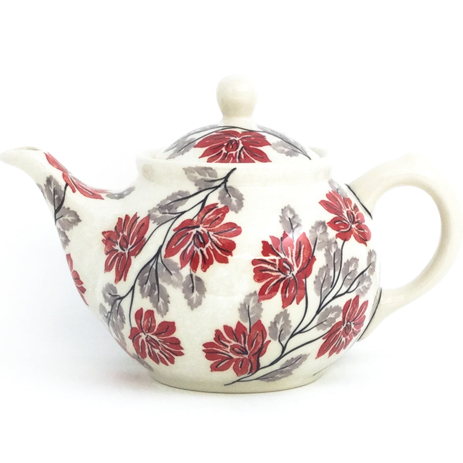 Morning Teapot 1 qt in Red & Gray