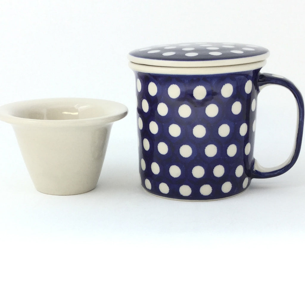 Straight Cup w/Infuser & Cover 12 oz in White Polka-Dot