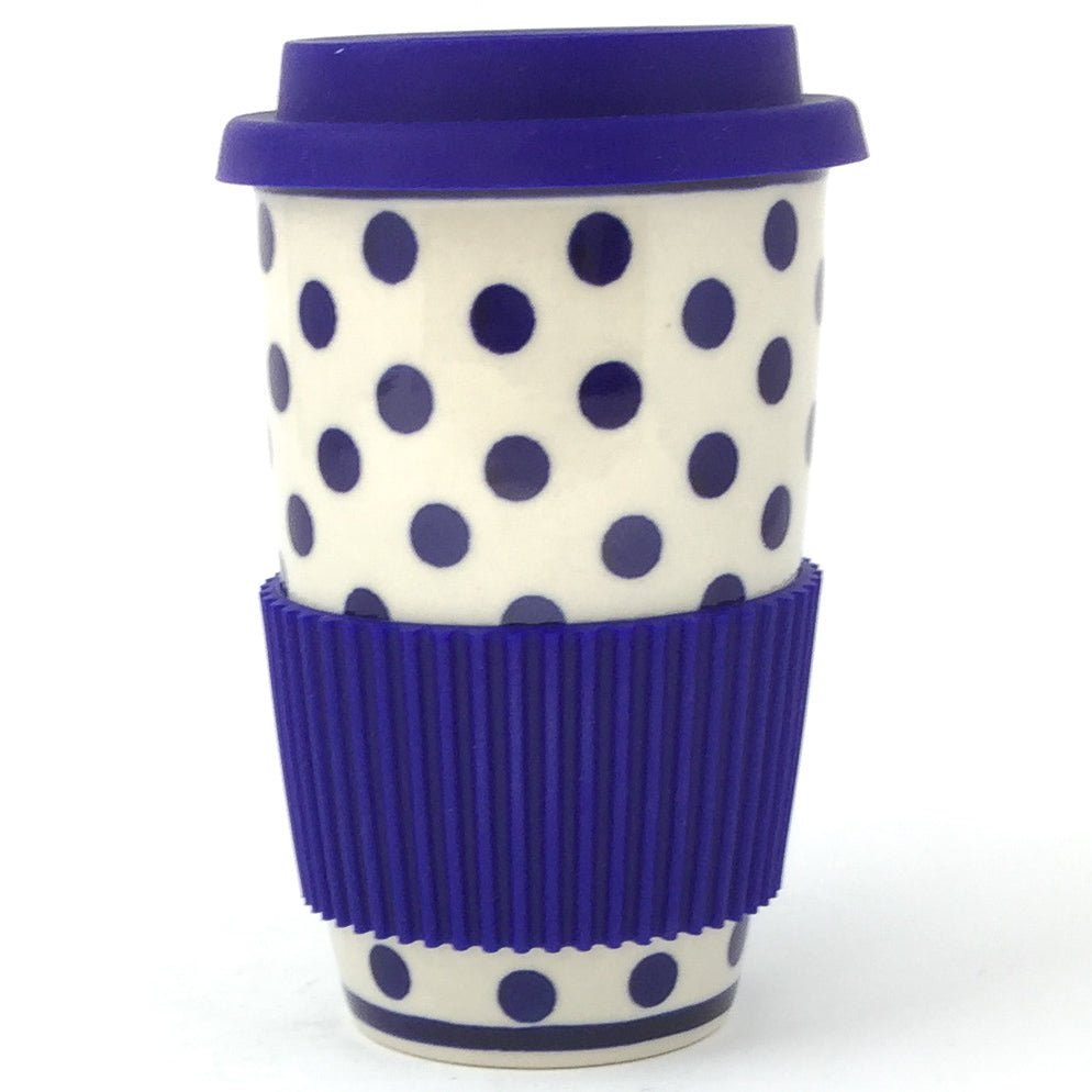 Travel Cup 14 oz in Blue Polka-Dot