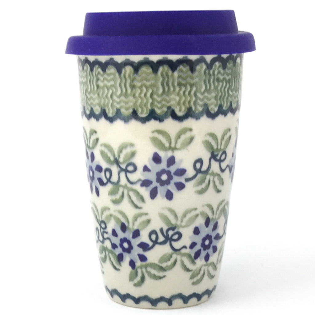 Travel Cup 14 oz in Blue & Green Flowers