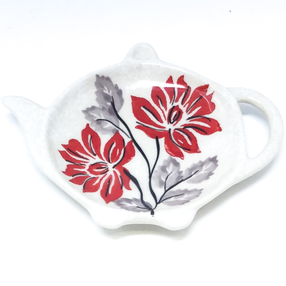 Teabag Dish in Red & Gray