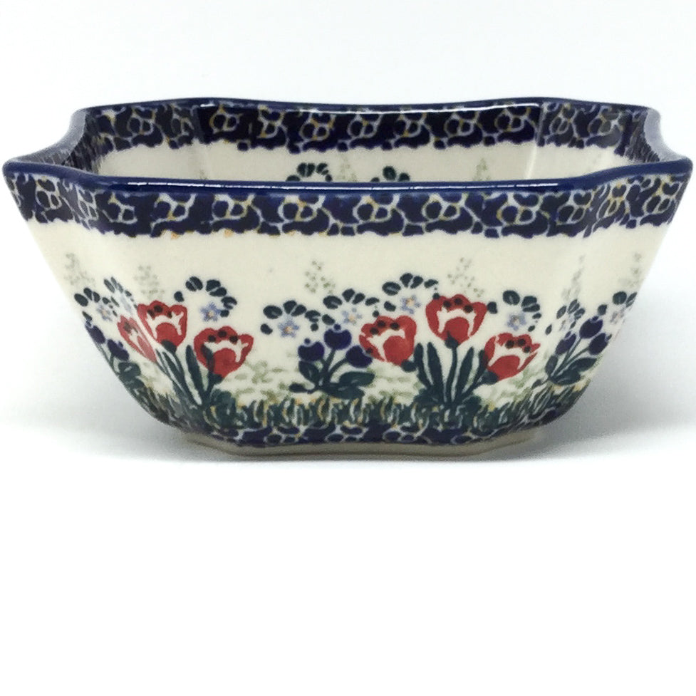Square Soup Bowl 16 oz in Red Tulips