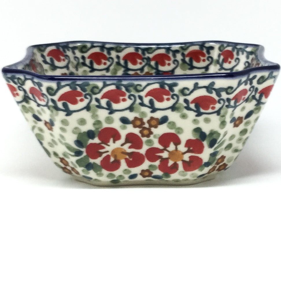 Square Soup Bowl 16 oz in Red Poppies