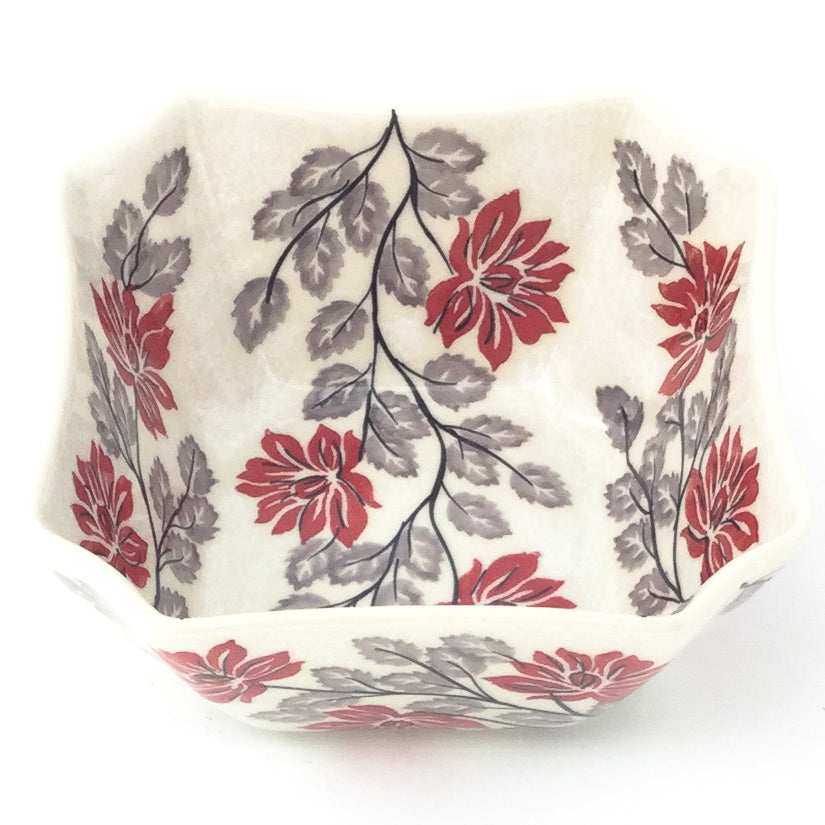 Square Soup Bowl 16 oz in Red & Gray