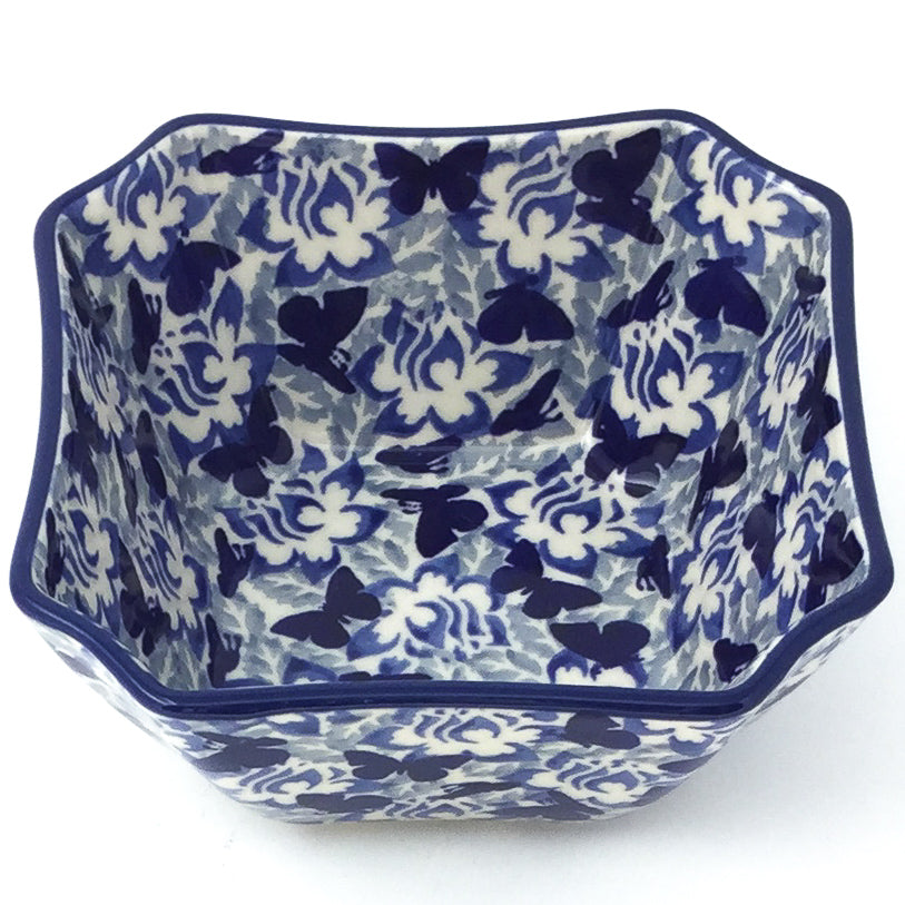 Square Soup Bowl 16 oz in Blue Butterfly